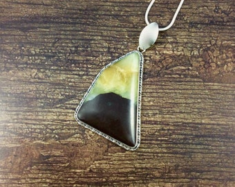 Statement Chocolate-Dipped Calcite Pendant // Calcite Jewelry // Septarian Jewelry // Sterling Silver // Village Silversmith