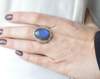 Intricate Blue Labradorite Ring // Labradorite Jewelry // Sterling Silver // Village Silversmith