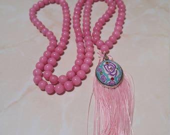Pink Jade Bead Mala Necklace