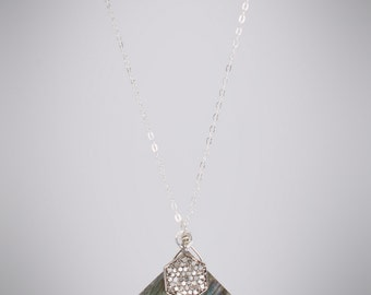 Diamond Pave Pendant Labradorite Pendant Necklace