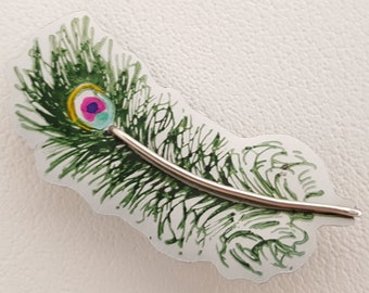 Peacock Feather Brooch in Anodised Aluminium