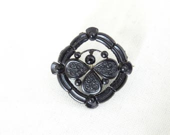 Beautiful Black Onyx Mourning Brooch, Victorian Mourning Jewelry, Antique Jewelry, Antique Brooch