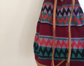 Aztec Print Bucket Bag