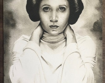 Princess Leia / Carrie Fisher Limited Edition Print A5