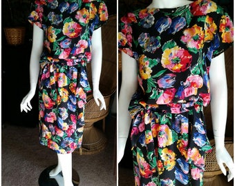 80's Bright Floral Dress by Jack Fuller for Patra, Floral 80's Dress, Summer Dress, Vintage Floral Dress, Lightweight Dress, MD