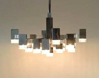 Gaetano Sciolari Cubic chandelier 17 bulbs vintage Italian lamp light design