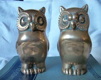 1970s Solid Brass Pair of Owl Bookends