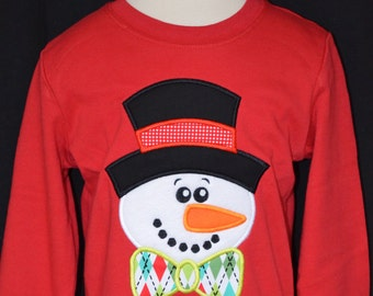 SnowMan with Hat & Bowtie Applique Shirt or Onesie Boy or Girl
