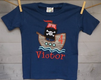 Personalized Birthday Pirate Ship Applique Shirt or Onesie Girl or Boy