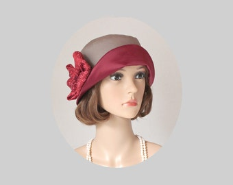 Pretty cloche hat in wine red and khaki, Great Gatsby hat, 1920s flapper hat, jazz age lawn party hat, high tea cloche hat, 20s hat