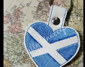 Scotland - Scottish - Flag Heart - Key Fob DESIGN-  Digital Embroidery Design