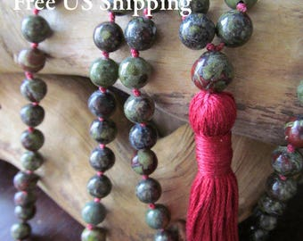 108 Bead Bloodstone Mala, Dragons Blood Mala Necklace, Prayer Beads, Yoga Jewelry, Long Tassel Necklace, Meditation Beads, Japa Mala