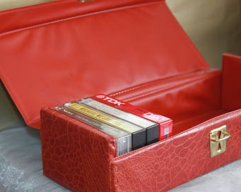 Brown Leathertte Cassette Box. Cassette Tape Storage 1970s Cool. Hipster Music Lover Gift.