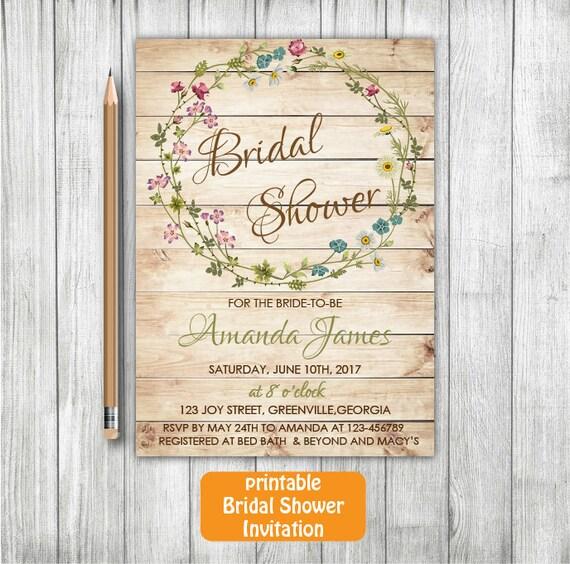 Rustic Printable Bridal Shower Invitation,Wood Bridal Shower Invitation, Flower Bridal Invitation, Floral Bridal Shower Invitation