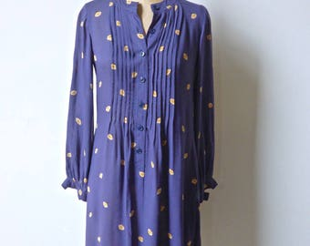 Nipon Floral Print Blue Crepe Dress