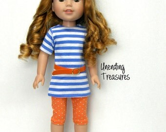 14 inch doll clothes AG doll clothes cornflower blue & white striped tunic orange capris belt made to fit like wellie wishers doll clothes