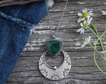 SALE Green Malachite Naja Pendant Necklace | Sterling Silver | Bohemian Southwestern Jewelry