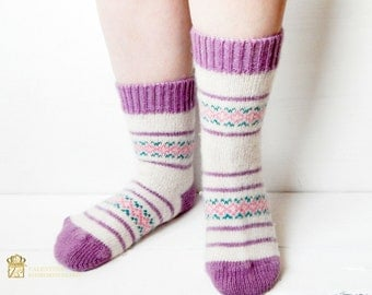 Knitted socks - Ornament Socks - Womens gift - long socks -  Warm socks -  Wool socks - Hand knitted ornamented socks