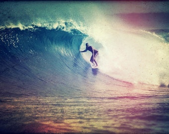 Surf Photography -  Surfer Surfing on an Ocean Wave Photo -  Free Shipping
