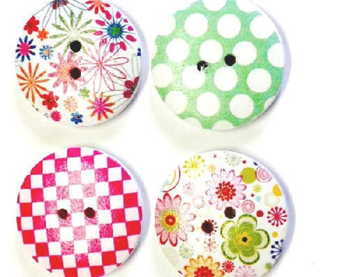 4 x 30mm Multicoloured 4 flower wooden buttons PACK 4