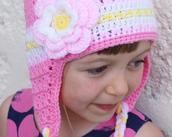 Handmade Crochet hat for girls, Flowers hat, Pink hat