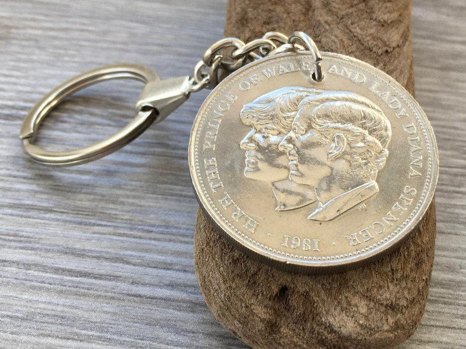 37th Wedding Anniversary Gifts: 1981 Coin Keychain, 37th Birthday Gift, Royal Wedding