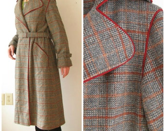 70s Plaid Wool Trench Coat // 1970s Green Brown Plaid Coat // Long Belted Coat