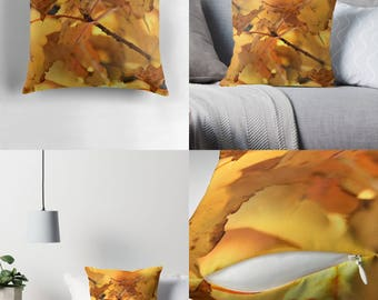 Throw Pillow - Pillow Cover — Canopy of Gold / Image of Richly–Hued Cluster of Golden Maple Leaves / Spun Polyester