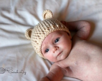 Crocheted Bear Hat, Crocheted Baby Hat, Kid's Bear Hat, Infant Bear Hat, Baby Shower Gift, Baby Bear Hat, Bear Ears Hat, Baby Bear Costume