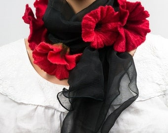 Silk scarf with felted flowers-red poppies-Black and red