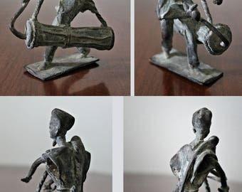 Dynamic Burkina Faso Bronze Musician / Vintage Sculpture Figure of Drummer / African Art