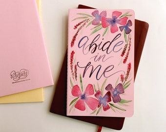 Watercolor Prayer Journal, Abide in Me, Scripture journal, hand painted Christian journal, Christian gift for mom