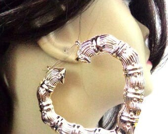 VINTAGE 80's BAMBOO HOOP earrings Gold Tone Heart Hoop Earrings 3.5 inch Hoop