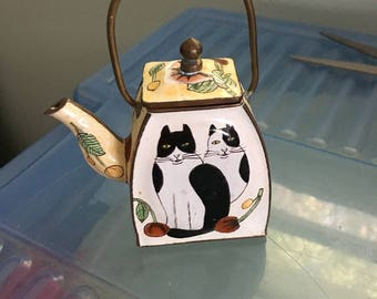 Miniature Enamel on Metal Teapot, Two Cats, Removable Lid