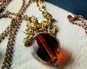 The Amber Orbuculum Necklace - Amber Panes Collection - orange, gold, antiqued, bronze, iridescent, faceted, crystal, prism, long, medium