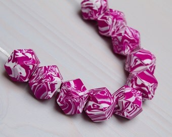 statement necklace, geometric necklace, handmade polymer clay beads, fimo jewellery handmade
