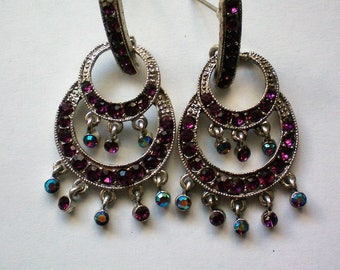 Pierced Dangle AB Deep Purple Earrings - 5129