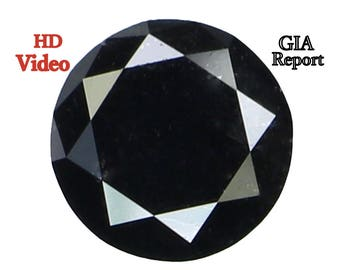 GIA CERTIFIED 1.22 Ct Natural Loose Diamond Round Brilliant Shape Fancy Black 6.81MM L7780