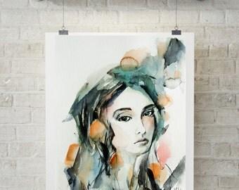 Woman portrait painting, ORIGINAL watercolor painting, modern art, watercolour art