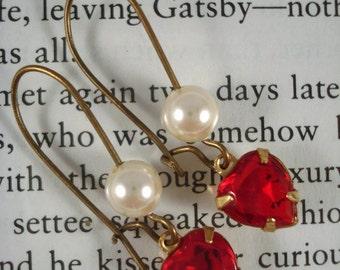 Swarovski Crystal Red Heart Earrings Pearls Dangle/Drop