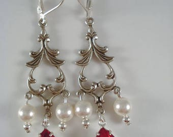 Red Rhinestone Pearl Earrings Downton Abbey Inspired