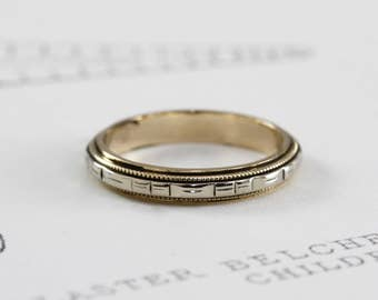 Antique Wedding Band, 14K Eternity Stacking Ring, White & Yellow Gold, Two Tone Gold Wedding Band