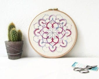 Hand embroidery hoop art, Mandala wall art, mandala wall hanging, modern embroidery, textile art gift, New home gift, handmade in the UK