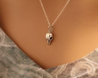 Sterling Silver Sparrow Bird Skull Charm Necklace, Bird Skull Necklace, Bird Skull Charm Necklace, Bird Skull Pendant Necklace