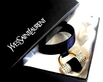 YVES SAINT LAURENT ~ Authentic Vintage Adjustable Charm Bracelet - Clear Rhinestones  Swarovski Crystal