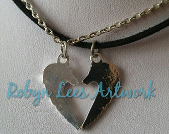 Small Silver Wolf Heart Silhouette Charm Necklace Set of 2 Necklaces on Silver Crossed Chain or Black Faux Suede Cord. Best Friends, Couples