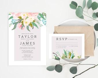 Printable Wedding Invitations | Wedding Invitation Set | Invitation Suite | Watercolor Floral Invitations | Flower Invitation Set | WI-010