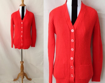1970s Bright Red Acrylic Cardigan Sweater Pockets | Long Red Granny Cardigan Front Pockets Made in Korea | Button Front Sweater