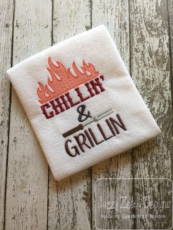 Chillin & Grillin embroidery design - barbecue embroidery design - picnic embroidery design - summer embroidery design - cookout embroidery