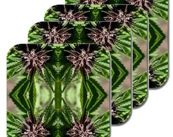 Cannabis Coasters: Four Pack Marijuana Coasters in Purple Nepal Marijuana Print, Coasters, Table Coasters, Ganja Coasters- MADE TO ORDER